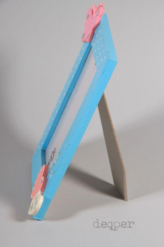 pastelowa ramka malowana niebieska różowa chłopczyk dziewczynka decoupage hand made rękodzieło blog drewniana na zdjęcie