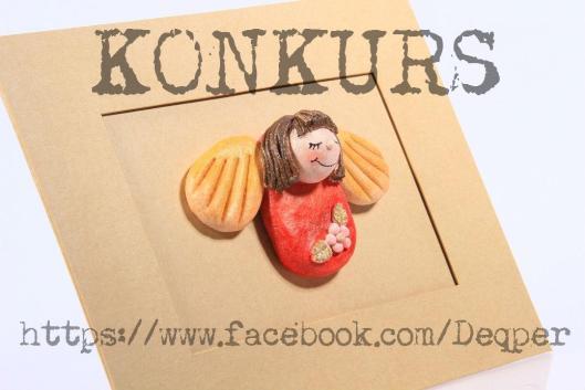 kokurs facebook blog decoupage aniołki z masy solnej ramka prezent